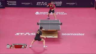 Timo Boll hits swap hand passing shot against Ma Long!